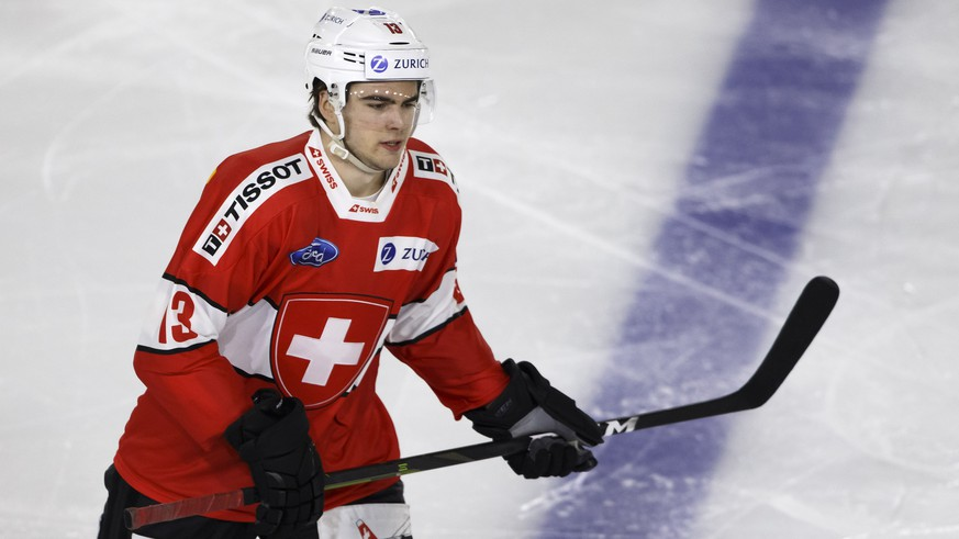Switzerland's forward Nico Hischier skates, during a friendly international ice hockey game between Switzerland and France, at the ice stadium De Graben, in Sierre, Switzerland, Friday, April 26, 2019. Switzerland national ice hockey team will play several friendly games of preparation ahead the IIHF 2019 World Championship. (KEYSTONE/Salvatore Di Nolfi)