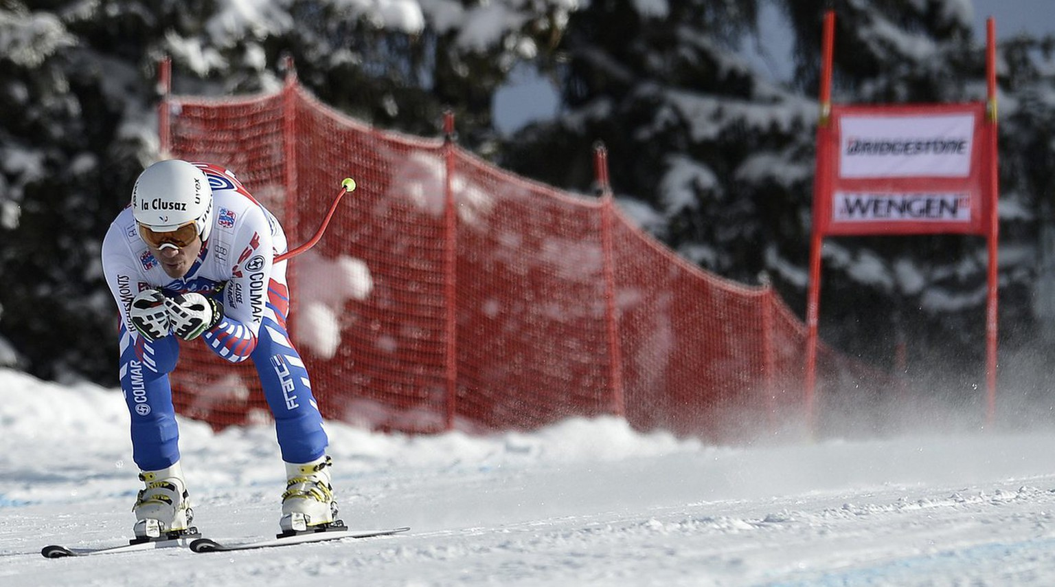 Johan Clarey of France in action during the second downhill training at the FIS Ski World Cup at the Lauberhorn in Wengen, Switzerland, Wednesday, January 16, 2013. (KEYSTONE/Peter Schneider)