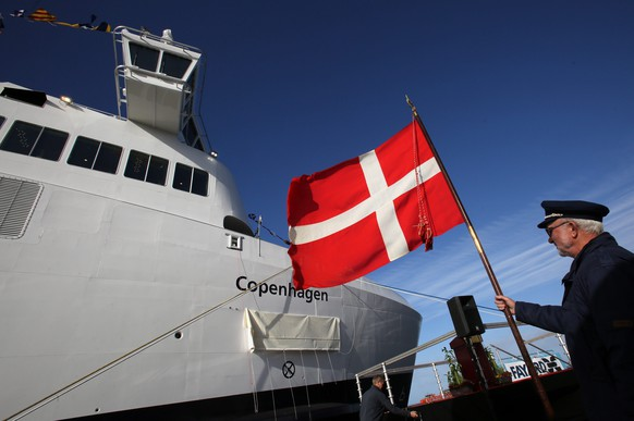epa05606947 The second hybrid ferry from ferry operator Scandlines for the Baltic Sea route Rostock-Gedser is christened 'Copenhagen' in the Fayard A/S shipyard in Munkebo, Denmark, 28 October 2016. The 169-meter-long ship can carry 1,300 passengers and around 460 cars, and will sail according to schedule starting December 2016. The sister ship 'Berlin' was already put into operation in May.  EPA/BERND WUESTNECK