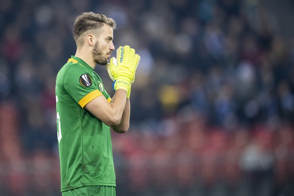 Zurich's Goalie Yanick Brecher reacts during the UEFA Europa League group stage soccer match between Switzerland's FC Zurich and Italian's SSC Neapel at the Letzigrund stadium in Zurich, Switzerland, on Thursday, February 14, 2019. (KEYSTONE/Ennio Leanza)
