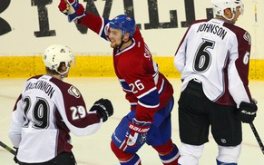 Sep 26, 2014; Quebec City, Quebec, CAN; Montreal Canadiens left wing Jiri Sekac (26) celebrates a Montreal Canadiens right wing Sven Andrighetto (58) (not pictured)  goal against Colorado Avalanche during the second period at Colisee Pepsi. Mandatory Credit: Jean-Yves Ahern-USA TODAY Sports