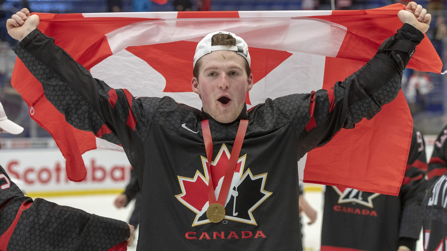 Canada's Alexis Lafreniere celebrates after defeating Russia in the gold medal game at the World Junior Hockey Championships, Sunday, Jan. 5, 2020, in Ostrava, Czech Republic. (Ryan Remiorz/The Canadian Press via AP)