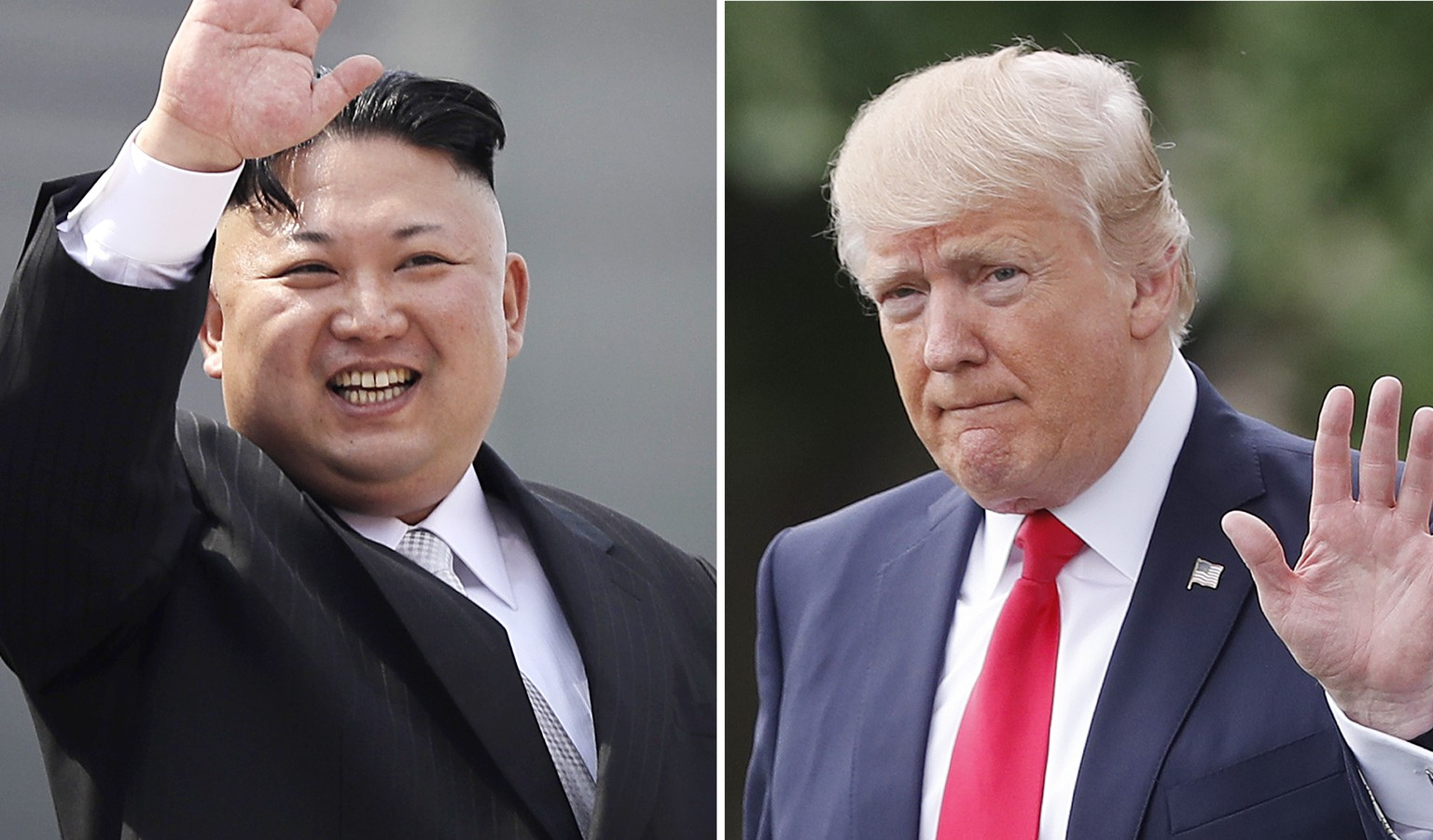 FILE - This combination of photos shows North Korean leader Kim Jong Un on April 15, 2017, in Pyongyang, North Korea, left, and U.S. President Donald Trump in Washington on April 29, 2017. The notion of a substantive sit-down between North Korean leader Kim Jong Un and U.S. President Donald Trump – the most gazed-upon figures of this moment in the planet's history – is a staggering prospect and a potential logistical nightmare if the two countries ever tried to make it happen. (AP Photo/Wong Maye-E, Pablo Martinez Monsivais, Files)