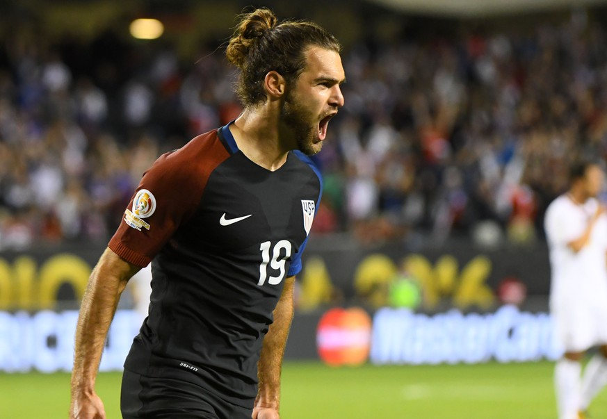 Jun 7, 2016; Chicago, IL, USA;  United States midfielder Graham Zusi (19) reacts after scoring a goal against Costa Rica in the second half during the group play stage of the 2016 Copa America Centenario at Soldier Field. The United States defeated Costa Rica 4-0.  Mandatory Credit: Mike DiNovo-USA TODAY Sports
