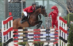 Swiss Pius Schwizer rides his horse as he competes in the