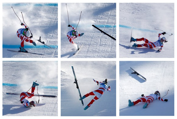 This six photo combination shows Switzerland's Dominique Gisin crashing as she approaches the finish in the women's downhill at the Vancouver 2010 Olympics in Whistler, British Columbia, Wednesday, Feb. 17, 2010. (AP Photo/Charlie Riedel)