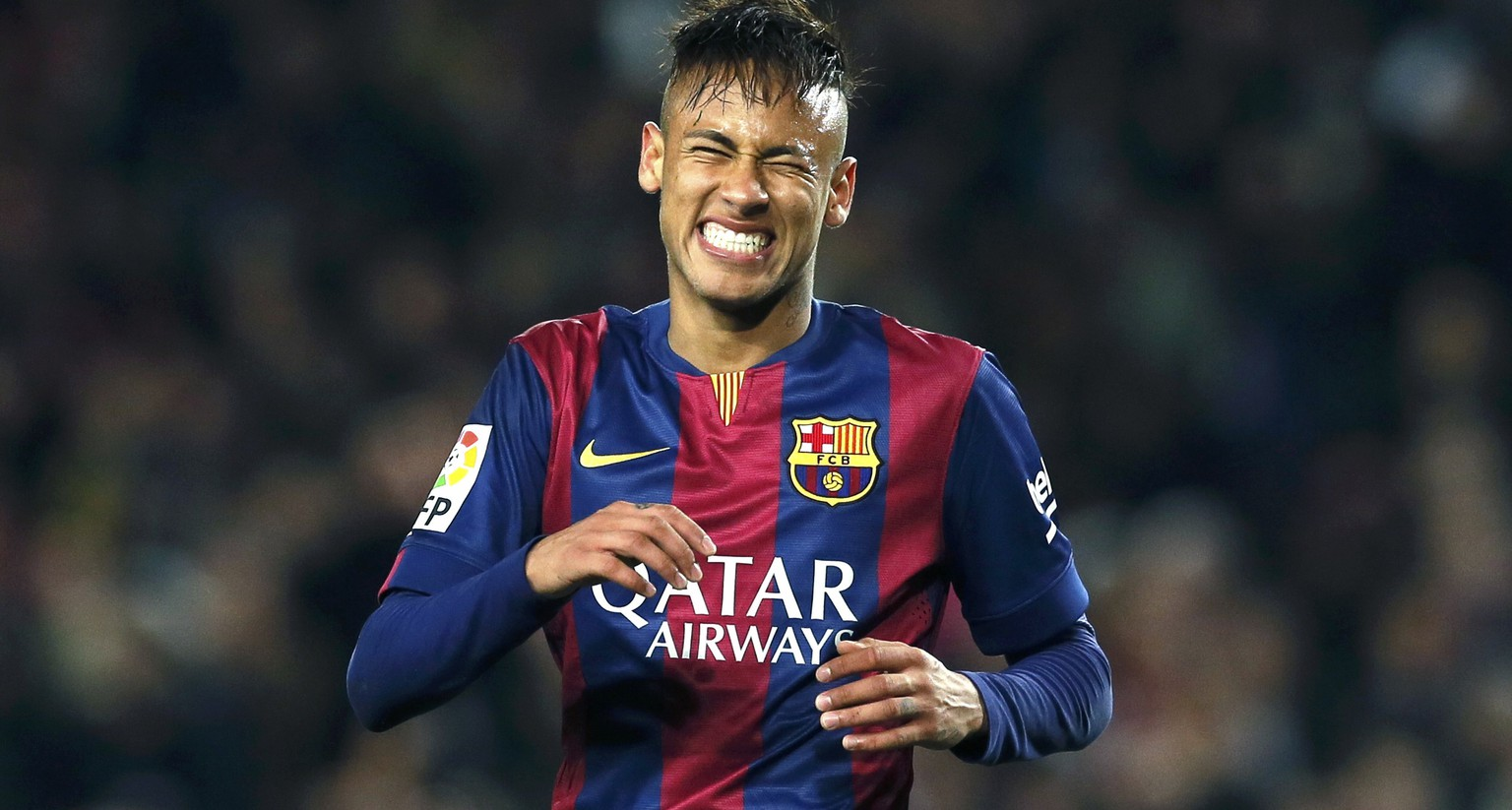Barcelona's Neymar reacts during their Spanish first division