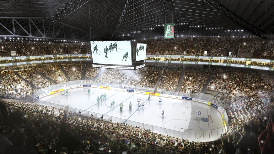 This undated artist drawing provided by Seattle Partners shows a proposed remodeled KeyArena with an NHL hockey rink. Hudson Pacific Properties and AEG Facilities pitched a plan to the city of Seattle Wednesday, April 12, 2017, to renovate KeyArena to attract future NBA basketball and NHL hockey teams. Oak View Group has also proposed a plan, and both companies are in competition with investor Chris Hansen, who is trying to get a new arena built on land he owns near Safeco Field and CenturyLink Field in Seattle. (Seattle Partners via AP)