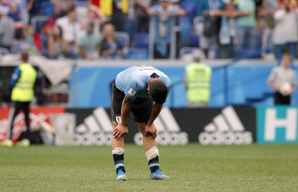Uruguay's Luis Suarez reacts at the end of the quarterfinal match between Uruguay and France at the 2018 soccer World Cup in the Nizhny Novgorod Stadium, in Nizhny Novgorod, Russia, Friday, July 6, 2018. (AP Photo/Ricardo Mazalan)