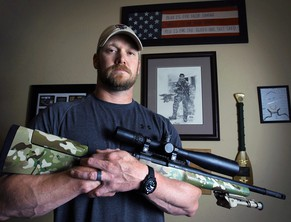"FILE - In this April 6, 2012, file photo, Chris Kyle, a former Navy SEAL and author of the book ""American Sniper,"" poses in Midlothian, Texas. The screening process is set to start for potential jurors for the upcoming trial of famed Navy SEAL and his friend. Potential jurors are to begin reporting to district court in the town of Stephenville, Texas on Thursday, Feb. 5, 2015. (AP Photo/The Fort Worth Star-Telegram, Paul Moseley, File)"