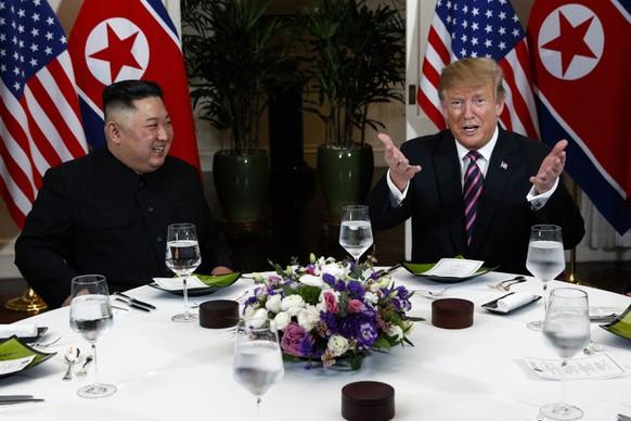 President Donald Trump speaks during a dinner with North Korean leader Kim Jong Un, Wednesday, Feb. 27, 2019, in Hanoi. (AP Photo/ Evan Vucci)