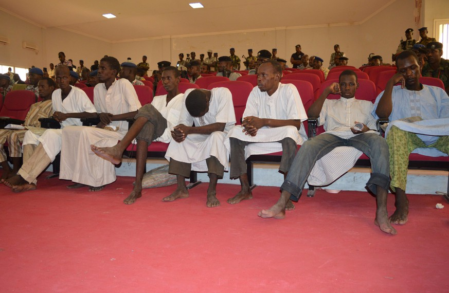 Men accused of being members of insurgent group Boko Haram attend their trial in N'Djamena, Chad, August 26, 2015. REUTERS/Moumine Ngarmbassa
