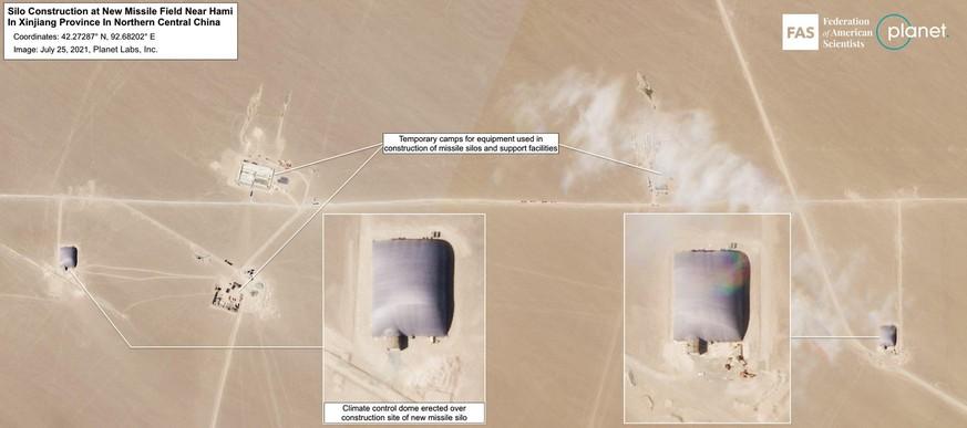 Über 14 Silobaustellen wurden Kuppelkonstruktionen errichtet. Die Vorbereitungen für weitere 19 sind im Gange. Das gesamte Raketenfeld könnte im Endausbau 110 Silos umfassen.