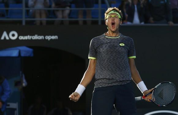 Tennis - Australian Open - Melbourne Park, Melbourne, Australia - 21/1/17 Uzbekistan's Denis Istomin celebrates winning his Men's singles third round match against Spain's Pablo Carreno Busta. REUTERS/Edgar Su