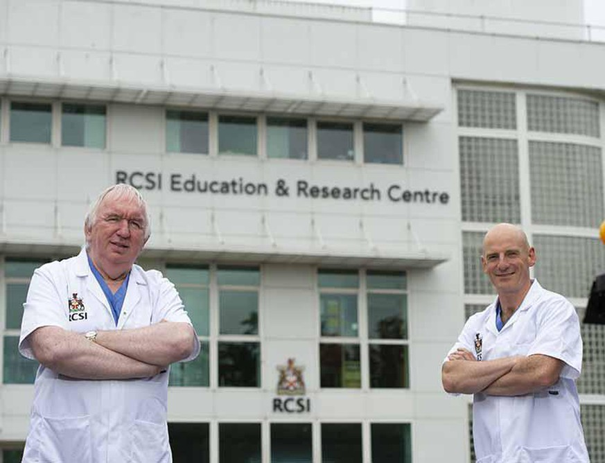 Professor Gerry McElvaney (left), the study's senior author and a consultant in Beaumont Hospital, and Professor Ger Curley (right) stand in front of the RCSI Education and Research Centre in Beaumont Hospital, Dublin.