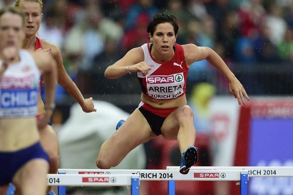 13.Aug.2014; Zuerich; Leichtathletik - EM Zuerich 2014;Valentine Arrieta (SUI) ueber 400 Meter Huerden Frauen (Andy Mueller/freshfocus)