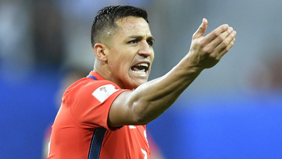 Chile's Alexis Sanchez reacts during the Confederations Cup final soccer match between Chile and Germany, at the St.Petersburg Stadium, Russia, Sunday July 2, 2017. (AP Photo/Martin Meissner)