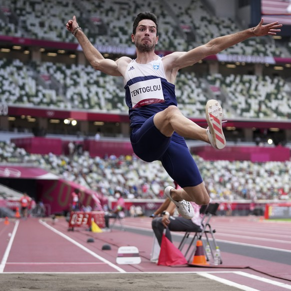 Miltiadis Tentoglou, of Greece, competes in men's long jump final at the 2020 Summer Olympics, Monday, Aug. 2, 2021, in Tokyo. (AP Photo/Matthias Schrader)