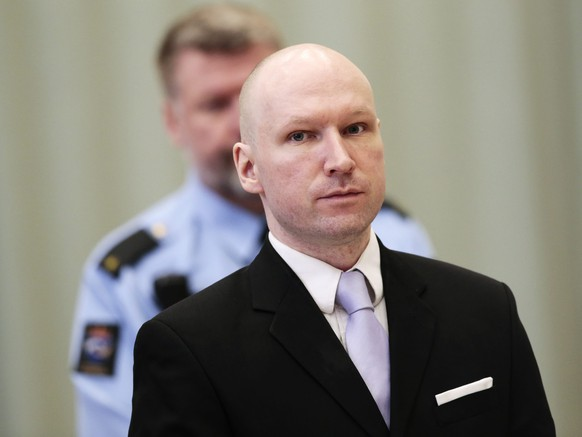 epa05268702 (FILE) A file photo dated 18 March 2016 showing convicted mass killer Anders Behring Breivik attending the fourth and last day in court in Skien prison, Norway. A Norwegian court on 20 April 2016 found that Norwegian authorities are violating his human rights by holding him in isolation for almost five years. The right-wing mass murderer, who committed the July 2011 Norway attacks that claimed the lives of 77 people, accused the government of his country of trying to kill him by putting him in solitary confinement after he was convicted.  EPA/LISE ASERUD NORWAY OUT