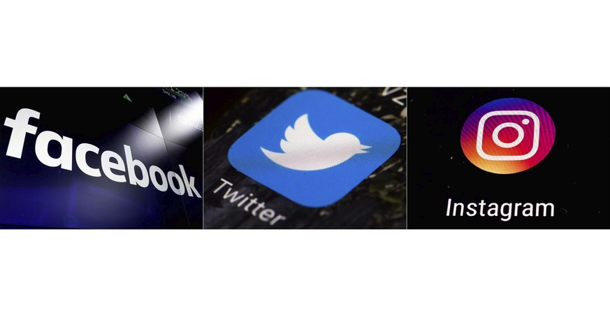 FILE - This combination of photos shows logos for social media platforms, from left, Facebook, Twitter and Instagram.  The company behind Ben & Jerry's ice cream, Dove soap and a host of other consumer products says it will stop advertising on Facebook, Twitter and Instagram in the U.S. through at least the end of 2020 because of the amount of hate speech online.   (AP Photo)