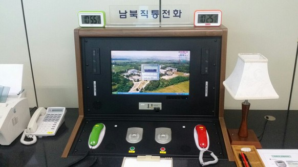 epa06414000 (FILE) - The inter-Korean hotline installed in the Joint Security Area, a small strip of land at the truce village of Panmunjom, North Korea, July 2016 (issued 03 January 2018). According to media reports on 03 January 2018, North Korea said that it will reopen the suspended inter-Korean communication line at the shared border village of Panmunjom at 3:00 p.m. (Pyongyang time) the same day.  EPA/YONHAP SOUTH KOREA OUT