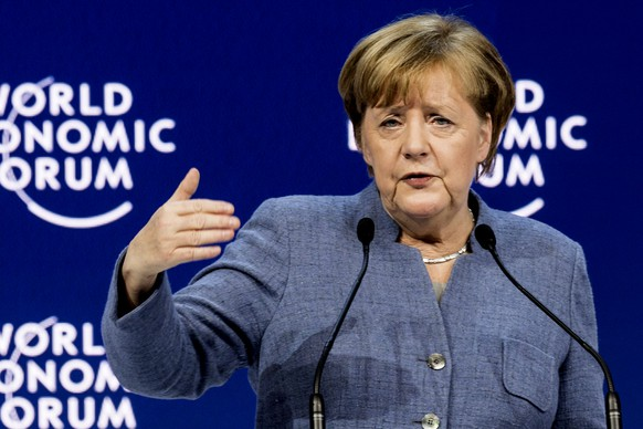 Angela Merkel, Chancellor of Germany, addresses a plenary session during the annual meeting of the World Economic Forum, WEF, in Davos, Switzerland, Wednesday, Jan. 24, 2018. (Laurent Gillieron/Keystone via AP)