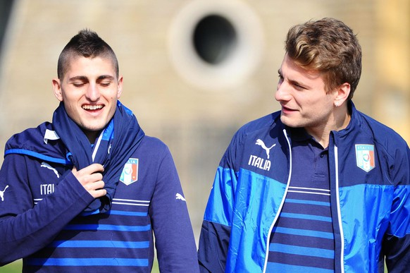 epa04676213 Italian national soccer team players Marco Verratti (L) and Ciro Immobile (R) attend their team's training session in Coverciano, Florence, Italy, 23 March 2015. Italy will face Bulgaria in the UEFA EURO 2016 qualifying soccer match on 28 March 2015.  EPA/MAURIZIO DEGL' INNOCENTI