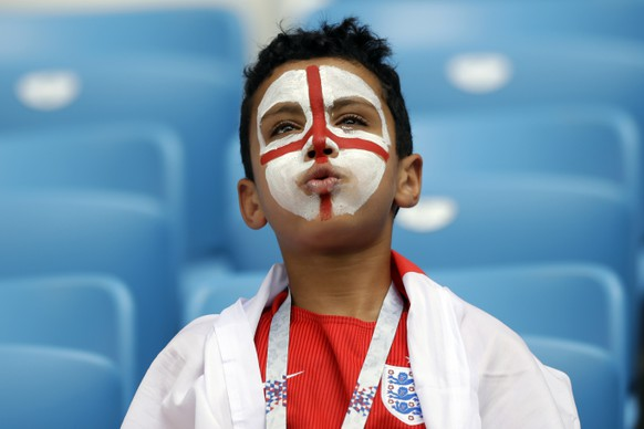An England fan gestures prior the quarterfinal match between Sweden and England at the 2018 soccer World Cup in the Samara Arena, in Samara, Russia, Saturday, July 7, 2018. (AP Photo/Matthias Schrader )