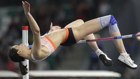 Mariya Lasitskene competes in the women's high jump final during the Match Europe against USA athletics competition on the Dinamo stadium in Minsk, Belarus, Tuesday, Sept. 10, 2019. (AP Photo/Sergei Grits)Katerina Stefanidi
