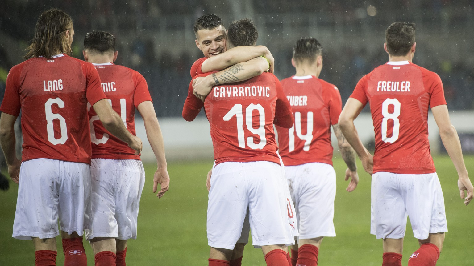 The players of Switzerland reacts after a goal during an international friendly soccer match between Switzerland and Panama at the Swisspor Arena, in Lucerne, Switzerland, Thuesday, March 27, 2018. (KEYSTONE/Urs Flueeler)