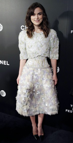 epa04181674 British actress/cast member Keira Knightley arrives at the US Premiere of 'Begin Again' at the Tribeca Film Festival, in New York, New York, USA, 26 April 2014. The movie will open in the US theaters on 04 July 2014.  EPA/PETER FOLEY