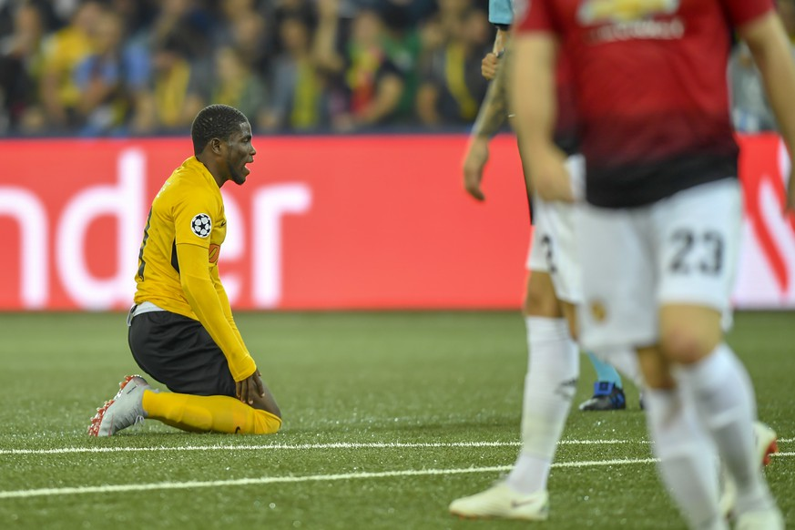 Young Boys' Assale reacts during the UEFA Champions League group H matchday 1 soccer match between Switzerland's BSC Young Boys and England's Manchester United FC in the Stade de Suisse in Berne, Switzerland, on Wednesday, September 19, 2018. (KEYSTONE/Anthony Anex)