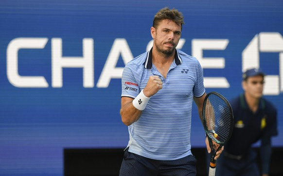 Stan Wawrinka, of Switzerland, reacts after scoring a point against Daniil Medvedev, of Russia, during the quarterfinals of the US Open tennis championships Tuesday, Sept. 3, 2019, in New York. (AP Photo/Sarah Stier)