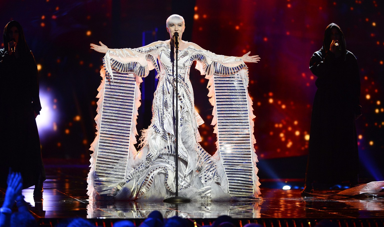 epa05296949 Croatia's Nina Kraljic performs the song 'Lighthouse' during rehearsals for the First Semi-Final of the 61st annual Eurovision Song Contest (ESC) at the Ericsson Globe arena in Stockholm, Sweden, 09 May 2016. The event's grand final takes place on 14 May.  EPA/MAJA SUSLIN SWEDEN OUT