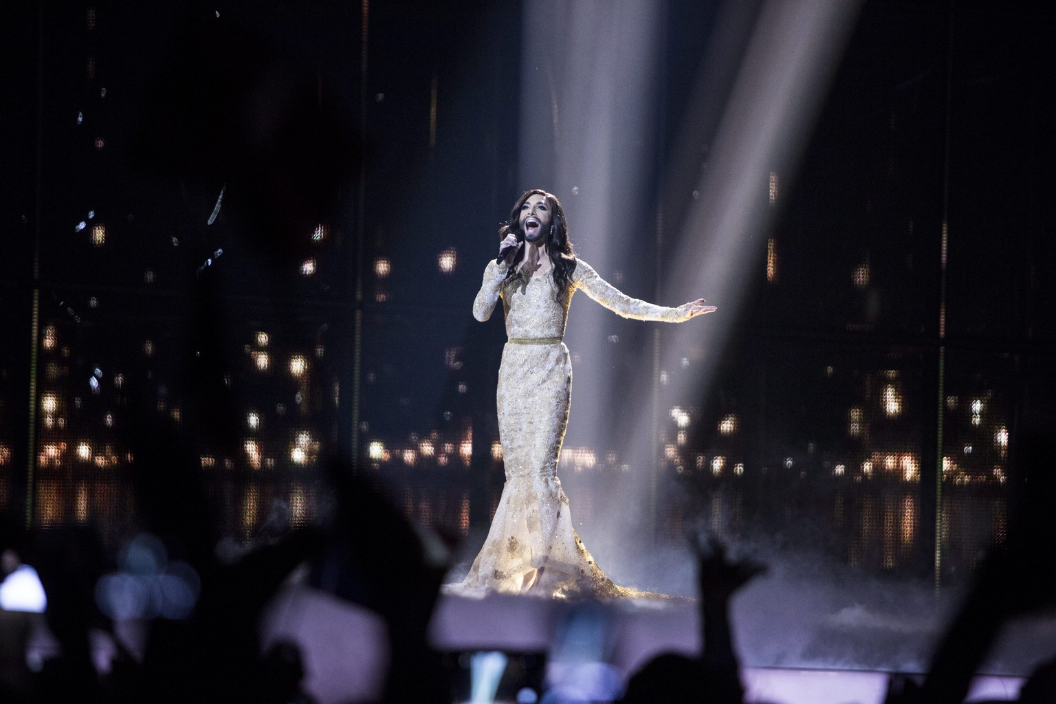 epaselect epa04197194 Conchita Wurst representing Austria performs during the Second Semi-Final of the 59th annual Eurovision Song Contest at the B&W Hallerne in Copenhagen, Denmark, 08 May 2014. The grand finale will take place on 10 May.  EPA/NIKOLAI LINARES DENMARK OUT