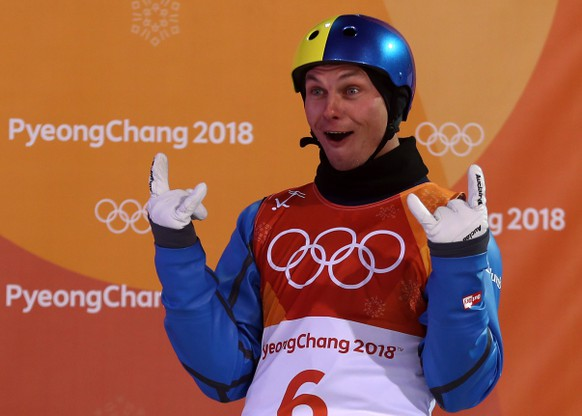 epa06539285 Olexandr Abramenko of the Ukraine reacts during the Men's Freestyle Skiing Aerials final competition at the Bokwang Phoenix Park during the PyeongChang 2018 Olympic Games, South Korea, 18 February 2018.  EPA/FAZRY ISMAIL