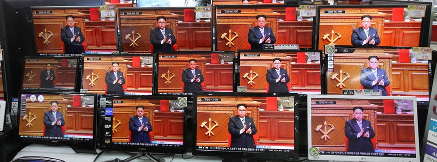 TV screens show North Korean leader Kim Jong Un during the 7th Congress of the Workers' Party of Korea on Friday, at the Yongsan Electronic store in Seoul, South Korea, Saturday, May 7, 2016. North Korean leader Kim hailed his country's recent nuclear test to uproarious applause as he convened the first full congress of its ruling party since 1980, an event intended to showcase the North's stability and unity in the face of tough international sanctions and deepening isolation. (AP Photo/Ahn Young-joon)