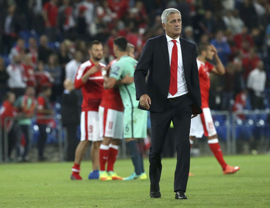 Football Soccer - Switzerland v Portugal - 2018 World Cup Qualifier - St. Jakob-Park, Basel, Switzerland - 6/9/16.  Switzerland's coach Vladimir Petkovic reacts after the game. REUTERS/Ruben Sprich