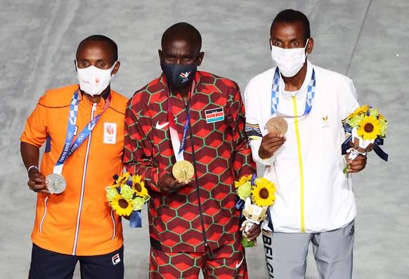 <strong>Leichtathletik, Männer, Marathon</strong> Gold: Eliud Kipchoge (KEN) Silber: Abdi Nageeye (NED) Bronze: Bashir Abdi (BEL)