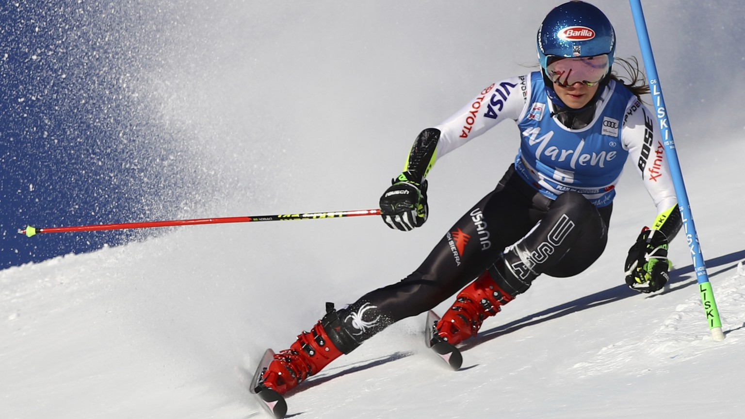 United States' Mikaela Shiffrin competes during an alpine ski, women's World Cup giant slalom, in Kronplatz, Italy, Tuesday, Jan. 15, 2019. (AP Photo/Marco Trovati)