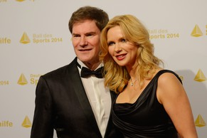WIESBADEN, GERMANY - FEBRUARY 08:  Carsten Maschmeyer and actor Veronica Ferres pose on their arrival at the Ball des Sports 2014 at Rhein-Main-Halle on February 8, 2014 in Wiesbaden, Germany.  (Photo by Dennis Grombkowski/Bongarts/Getty Images)