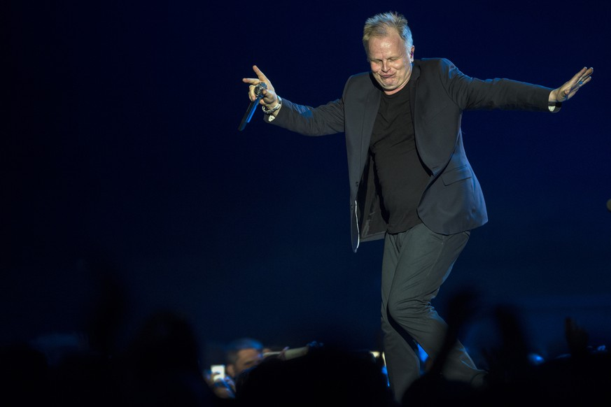 German singer Herbert Groenemeyer performs on stage during his tour