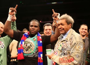 LOS ANGELES, CA - MAY 10: Bermane Stiverne and promoter Don King pose for photos after Stiverne defeated Chris Arreola in their WBC Heavyweight Championship match at Galen Center on May 10, 2014 in Los Angeles, California. Stiverne won in a six round technical knockout.   Stephen Dunn/Getty Images/AFP == FOR NEWSPAPERS, INTERNET, TELCOS & TELEVISION USE ONLY ==