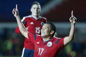 Colombia's Carlos Bacca celebrates his goal against Senegal during their international friendly soccer match in Buenos Aires, Argentina, Saturday, May 31, 2014. (AP Photo/Victor R. Caivano)