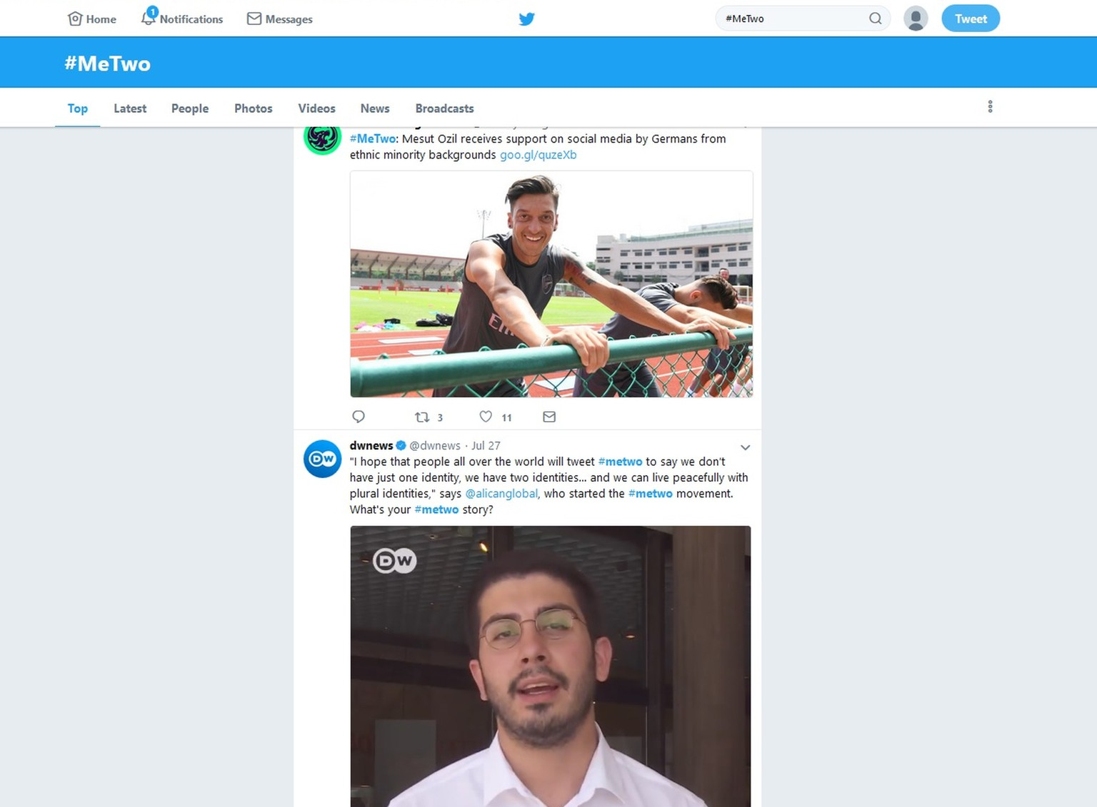 The Monday, July 30, 2018 screenshot shows the #MeTwo Twitter website. The hashtag, a play on the #MeToo movement against sexual harassment, was created by journalist Ali Can following the resignation of soccer star Mesut Ozil. (AP Photo)