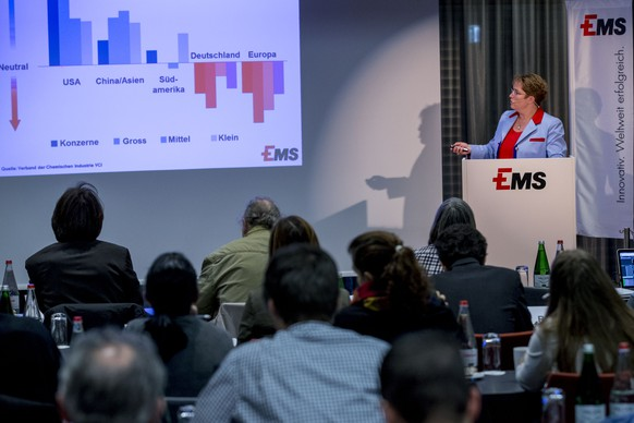 Magdalena Martullo-Blocher, chief executive officer (CEO) and vice-chairman of the board of directors of EMS-CHEMIE HOLDING AG, speaks during a press conference on the fourth quarter and full-year results 2014 in Zurich, Switzerland, Friday, February 6, 2015. (KEYSTONE/Patrick B. Kraemer)