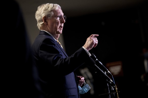 Senate Majority Leader Mitch McConnell, R-Ky., speaks at a news conference following a Senate policy luncheon on Capitol Hill, Tuesday, June 16, 2020, in Washington. (AP Photo/Andrew Harnik) Mitch McConnell