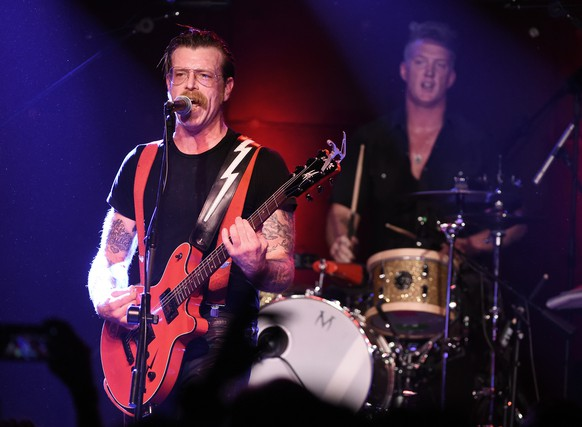LOS ANGELES, CA - OCTOBER 19:  Musicians Jesse Hughes (L) and Josh Homme of Eagles of Death Metal perform at the Teragram Ballroom on October 19, 2015 in Los Angeles, California.  (Photo by Kevin Winter/Getty Images)
