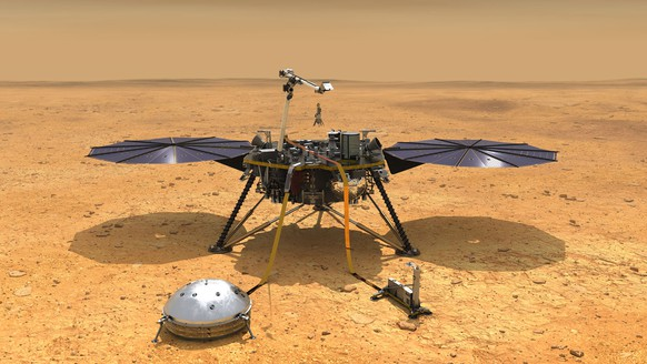 This artist's concept depicts NASA's InSight lander after it has deployed its instruments on the Martian surface. A version of the illustration depicts the smooth, flat ground that dominates InSight's landing ellipse in the Elysium Planitia region of Mars.