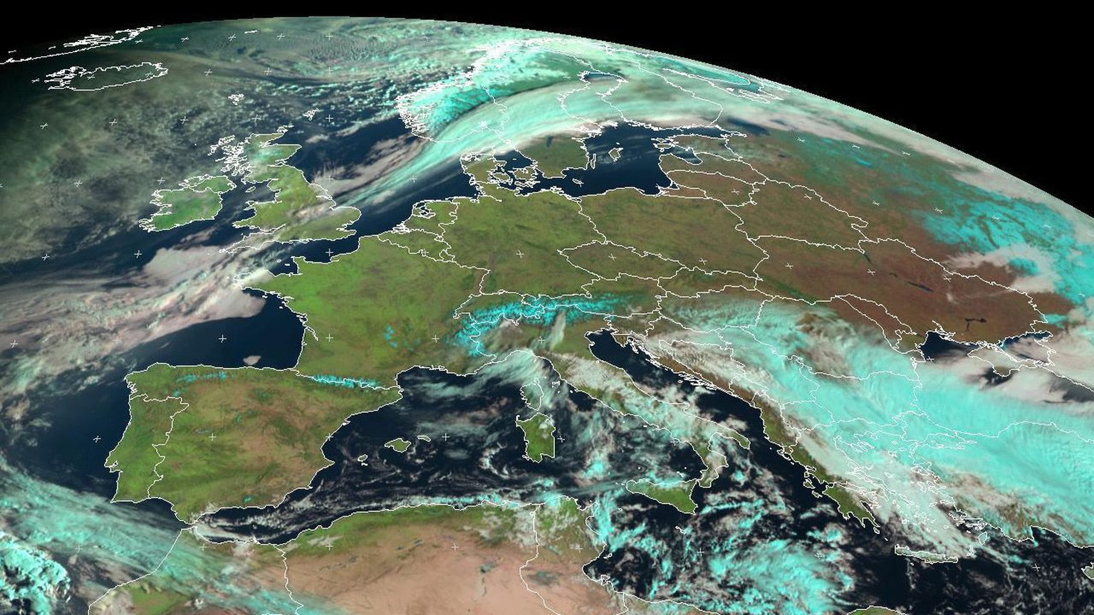 epa04119012 A handout satellite picture provided by the European Organisation for the Exploitation of Meteorological Satellites (EUMETSAT) shows clear skies over Europe, 10 March 2014. The image, taken by Meteosat-10 geostationary satellite at 08:00 (UTC), shows almost no clouds over Portugal, Spain, France, Belgium, the Netherlands, Luxembourg, Germany, Poland, Czech Republic, Lithuania, Latvia, Belarus, Ukraine, and Slovakia.  EPA/EUMETSAT / HANDOUT  HANDOUT EDITORIAL USE ONLY/NO SALES